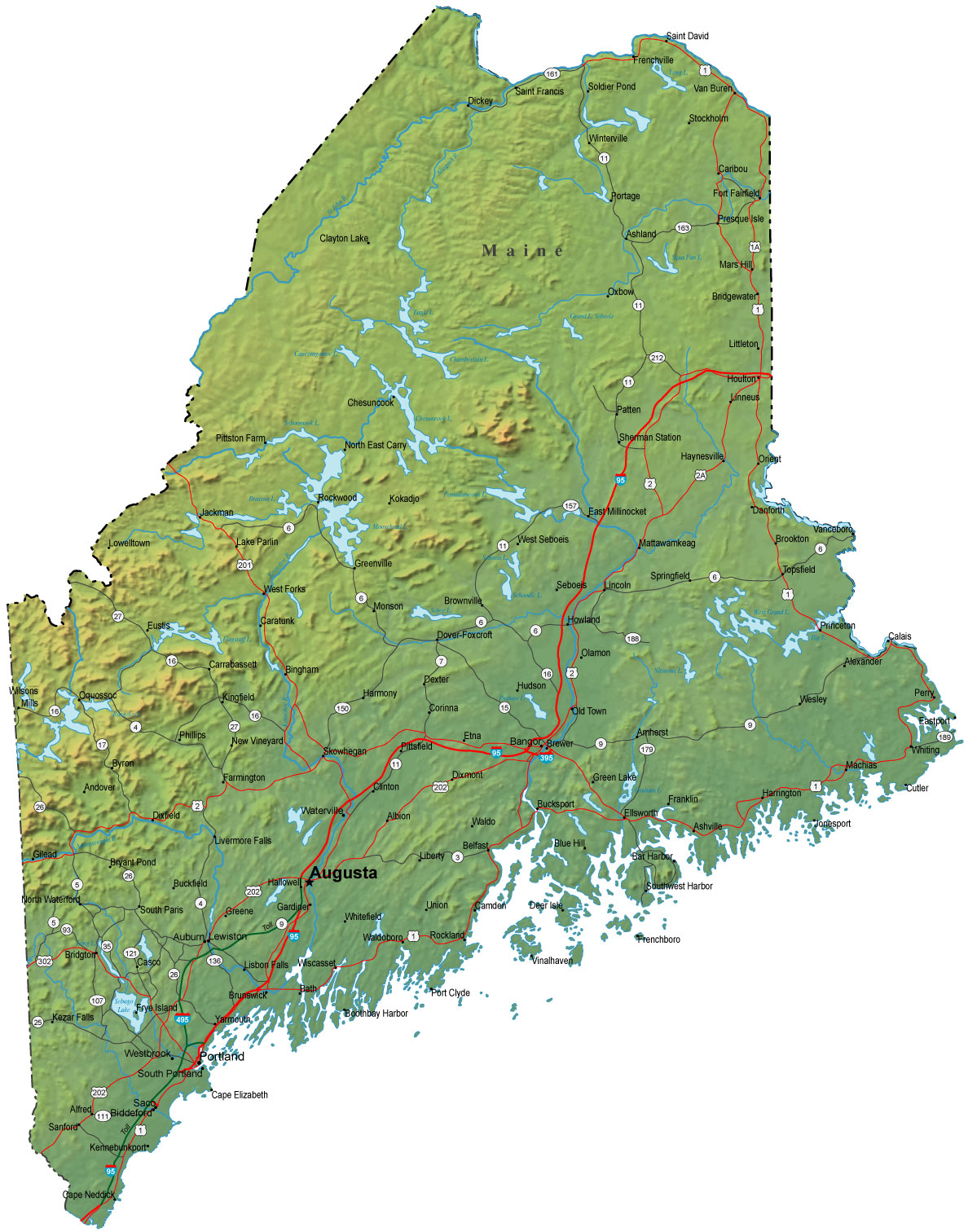 Detailed Maine Map  ME Terrain Map